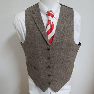 Sz L Brown Tweed USPA Mens Wool #869 Suit Vest